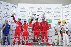 GTE-pro podium: first place Jaime Melo, Toni Vilander, second place Gianmaria Bruni, Giancarlo Fisichella, third place Augusto Farfus Jr., Jörg Muller