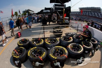 Roush Fenway Racing Ford team member prepares wheels