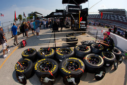 Roush Fenway Racing Ford team member prepares wheels