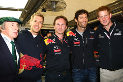 Sir jackie Stewart with Sebastian Vettel, Red Bull Racing, Christian Horner, Red Bull Racing, Sporting Director, Mark Webber, Red Bull Racing and Prince Harry