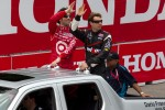Pole winner Will Power, Team Penske and Dario Franchitti, Target Chip Ganassi Racing during drivers parade