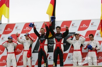 Podium: race winners Michael Krumm and Lucas Luhr, second place Stefan Mücke and Darren Turner, third place Tomas Enge and Alex Müller