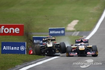 Sebastien Buemi crashed into Nick Heidfeld's Lotus Renault