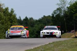 #45 Flying Lizard Motorsports Porsche 911 GT3 RSR: Jörg Bergmeister, Patrick Long, #55 BMW Team RLL BMW M3 GT: Bill Auberlen, Dirk Werner