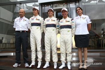 2011 Sauber Driver line up Esteban Gutierrez, Sauber F1 Team with Sergio Perez, Sauber F1 Team and Kamui Kobayashi, Sauber F1 Team with Peter Sauber, Sauber F1 Team, Team Principal and Monisha Kaltenborn, Managing director, Sauber F1 Team