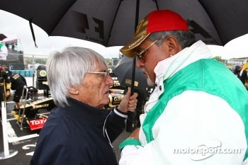 Bernie Ecclestone with Vijay Mallya Force India F1 Team Owner