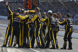 Richard Childress Racing Chevrolet team members celebrate the victory of Paul Menard