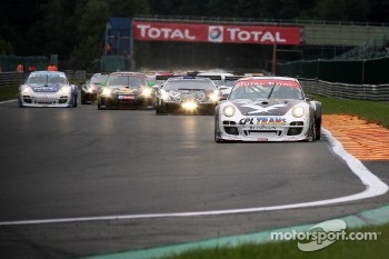 First lap at Kemmel: #75 Prospeed Competition Porsche 997 GT3 R: Marc Goossens, Jan Heylen, Maxime Soulet