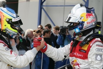 Race winner Mattias Ekström, Audi Sport Team Abt celebrates with Mike Rockenfeller, Audi Sport Team Abt