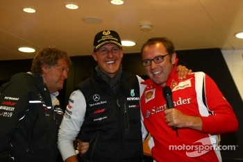 Norbert Haug, Mercedes, Motorsport chief with Michael Schumacher, Mercedes GP F1 Team celebrates his first F1 drive at Spa 20 years ago, Stefano Domenicali Ferrari General Director