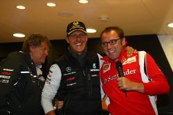Norbert Haug, Mercedes, Motorsport chief with Michael Schumacher, Mercedes GP F1 Team celebrates his first F1 drive at Spa 20 years ago, Stefano Domenicali Ferrari General Director
