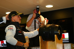 Michael Schumacher, Mercedes GP F1 Team celebrates his first F1 drive at Spa 20 years ago
