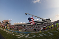 American flag proudly displayed over the track