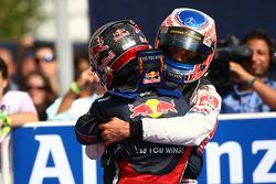 Race winner Sebastian Vettel, Red Bull Racing and second place Jenson Button, McLaren Mercedes