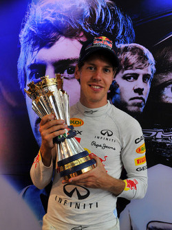 Sebastian Vettel, Red Bull Racing celebrates his win