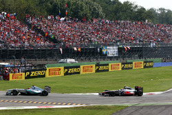 Michael Schumacher, Mercedes GP F1 Team leads Lewis Hamilton, McLaren Mercedes