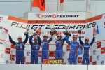 GT500 podium: winners Yuji Tachikawa and Kohei Hirate
