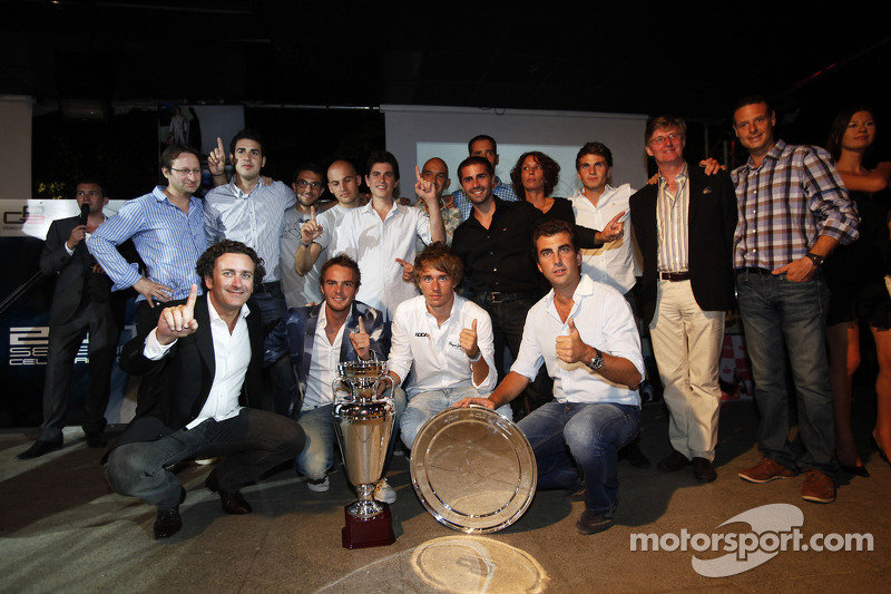 Alejandro Agag, Addax team principal, Charles Pic, Giedo Van der Garde and the addax team celebrate winning the GP2 teams Championship