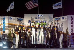 LMP1 podium: class and overal winners Adrian Fernandez, Harold Primat, Stefan Mücke, second place Chris Dyson, Guy Smith, Jay Cochran, third place Butch Leitzinger, Humaid Al Masaood, Steven Kane