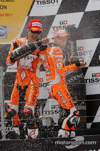 Podium: race winner Casey Stoner, Repsol Honda Team, second place Dani Pedrosa, Repsol Honda Team