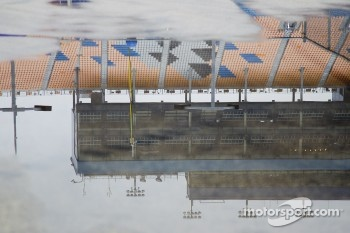 The puddles await the jet driers in the garage area