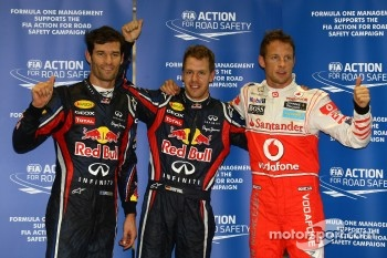 Pole winner Sebastian Vettel, Red Bull Racing, second place Mark Webber, Red Bull Racing, third place Jenson Button, McLaren Mercedes