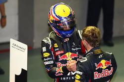 Race winner Sebastian Vettel, Red Bull Racing with Mark Webber, Red Bull Racing