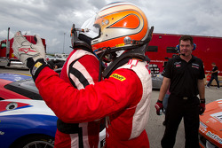 Race winner #22 Ferrari of Ft. Lauderdale Ferrari 458 Challenge: Enzo Potolicchio celebrates with #77 Ferrari of Silicon Valley Ferrari 458 Challenge: Harry Cheung