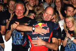 Sebastian Vettel, Red Bull Racing new world champion celebrates with the team and Adrian Newey, Red Bull Racing, Technical Operations Director