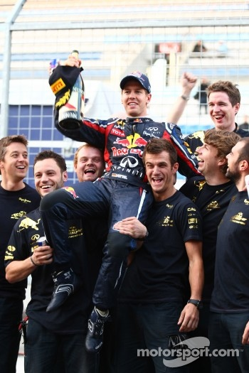 Sebastian Vettel, Red Bull Racing  celebrates the teams World championship