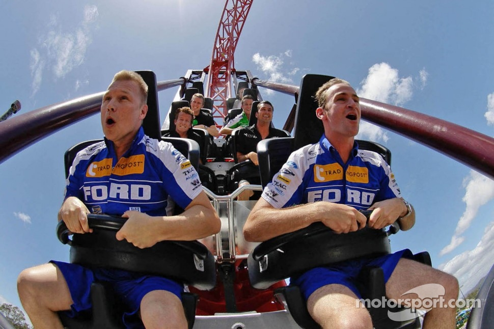 Will Davison and Mika Salo on a rollercoaster at Dreamworld