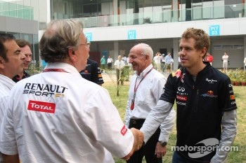 Jean-Francois Caubet, Managing director of Renault F, Sebastian Vettel, Red Bull Racing