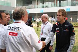 Jean-Francois Caubet, Managing director of Renault F, Sebastian Vettel, Red Bull Racing