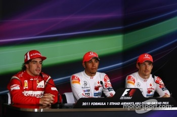Post-race press conference: race winner Lewis Hamilton, McLaren Mercedes, second place Fernando Alonso, Scuderia Ferrari, third place Jenson Button, McLaren Mercedes