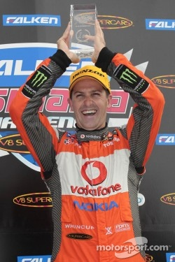 Jamie Whincup celebrating his victory at Symmons Plains in the Tasmania Challenge