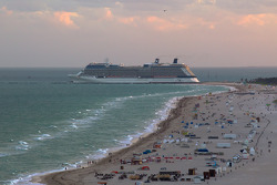 A cruising ship leaves the Port of Miami