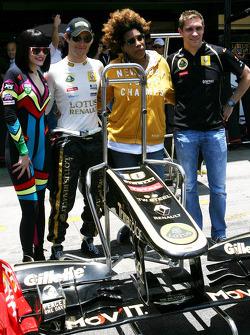 Jessie J., singer, Bruno Senna, Renault F1 Team, Vitaly Petrov, Lotus Renault F1 Team and Macy Gray, singer
