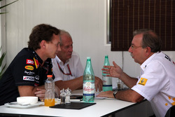 Christian Horner, Red Bull Racing, Sporting Director with Helmut Marko, Red Bull Racing, Red Bull Advisor and Jean-Francois Caubet, Managing director of Renault
