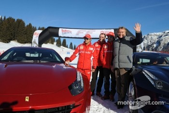 Fernando Alonso, Luca di Montezemolo and Felipe Massa present the new Ferrari FF