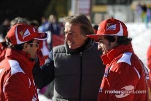 Fernando Alonso, Luca di Montezemolo and Felipe Massa