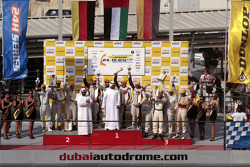 Podium: race winners Khaled Al Qubaisi, Sean Edwards, Jeroen Bleekemolen, Thomas Jäger