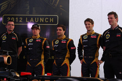 Eric Boullier, Team Principal, Lotus Renault F1 Team with Kimi Raikkonen, Jérôme d'Ambrosio,  Lotus Renault F1 Team, Romain Grosjean, Lotus Renault F1 Team and James Allison