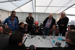 Jenson Button, McLaren Mercedes with the media