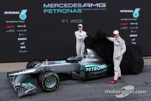 Michael Schumacher, Mercedes GP and Nico Rosberg, Mercedes GP unveil the new  Mercedes F1 W03