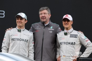 Nico Rosberg, Mercedes GP with Ross Brawn, Mercedes GP Team Principal andMichael Schumacher, Mercedes GP- Mercedes F1 W03 Launch