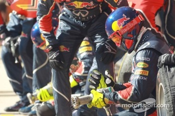 Red Bull pit crew and mechanics