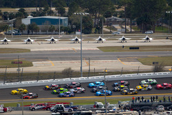 Denny Hamlin, Joe Gibbs Racing Toyota and Sam Hornish Jr., Penske Racing Dodge lead the field
