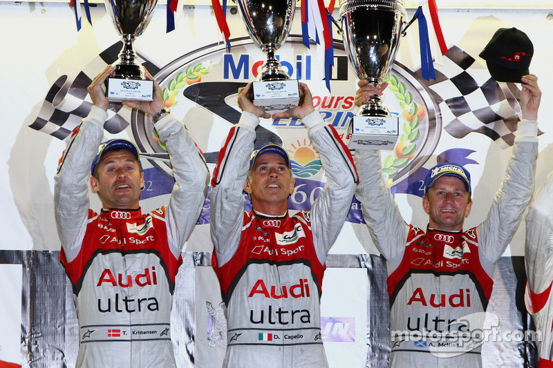 Podium: overall winners Rinaldo Capello, Allan McNish and Tom Kristensen