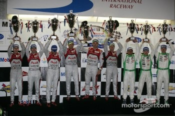WEC LMP1 podium: first place Rinaldo Capello, Tom Kristensen, Allan McNish, second place Timo Bernhard, Romain Dumas, Loic Duval, third place Emmanuel Collard, Jean-Christophe Boullion, Julien Jousse