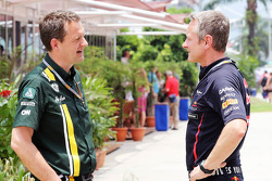Steve Nielsen, Caterham F1 talks with Jonathan Wheatley, Red Bull Racing Team Manager